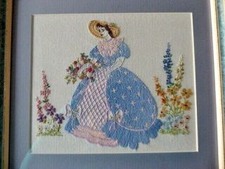 Vintage Hand Embroidered Picture /framed - Crinoline Lady - So Pretty