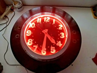 "Vintage 27 "" Crescent Hand Neon Advertising Clock Red Neon"