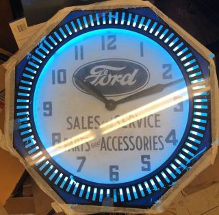 Vintage Ford Sales And Service Parts And Accessories Neon Advertising Clock