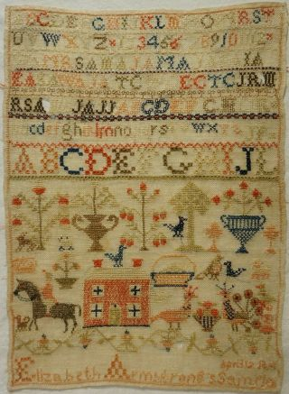 Mid 19th Century Red House,  Horse & Motif Sampler By Elizabeth Armstrong - 1852