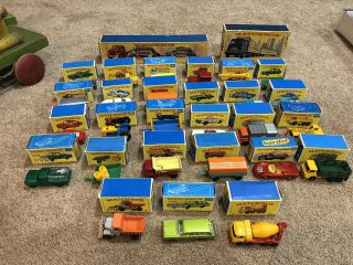 28 Orig Matchbox Series 1950's Moko Lesney W/ Orig Boxes,  A Superfast.  29 Total
