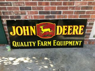 """ John Deere "" X - Large,  Heavy Double Sided Porcelain Dealer Sign (60 "" X 24 "")"