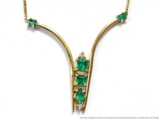 Fine Natural Emerald Diamond 14k Gold Necklace Vintage Midcentury Chevron 17in