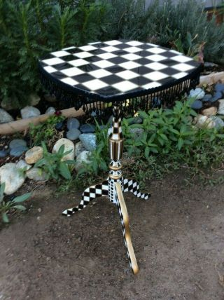 Courtly Check Hand Painted Vintage Accent Table W/mackenzie Childs