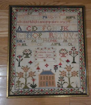 Antique 1853 Needlework Sampler By Cathrine Ross Trees,  House,  Abc