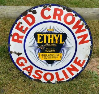 Vintage Porcelain Red Crown Ethyl Sign Gas Oil Gasoline Sign Dsp