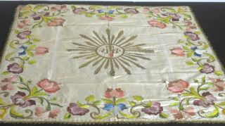 Antique 19th C.  Silk Embroidered Textile Piece With Metallic Threads Vv40
