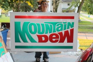 "Rare Large Vintage 1970 Mountain Dew Soda Pop 58 "" Embossed Metal Sign"