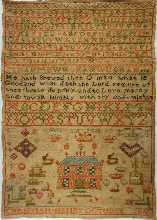 Early 19th Century Red House,  Motif & Alphabet Sampler By Christian Henry - 1816