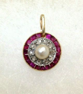 18k Gold Natural Ruby Diamond And Pearl Art Deco Circle Pendant Charm