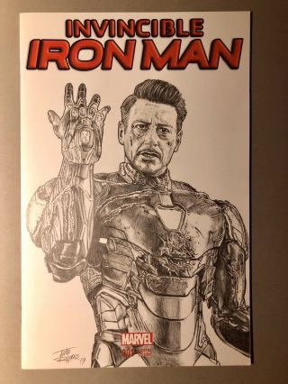 Invincible Iron Man 1 Art Sketch Cover By Thad Rhodes