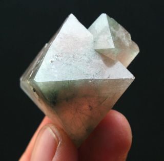 57.  6g Natural Unique Pink Octahedron Fluorite Crystal /china