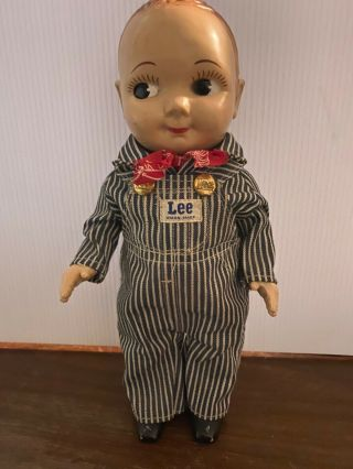 Vintage Buddy Lee Doll.  Union Made Denim Overalls Missing Hat 1950s.  Composition