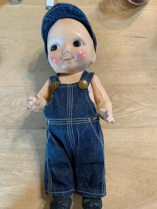 Pretty Composition Buddy Lee Doll In Lee Denim Overalls And Lee Denim Hat