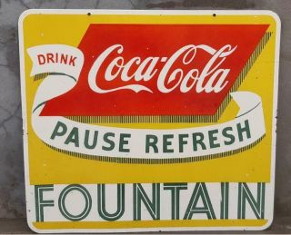 Coca Cola Fountain Porcelain Enamel Sign 28 X 25 Inches Double Sided Sign