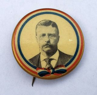 1904 Teddy Theodore Roosevelt Political Campaign Pinback Button Pin Badge Ribbon