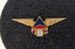 Vintage Delta Airlines 10k Gold,  Enamel Robbins 25 Year Service Pin Real Diamond