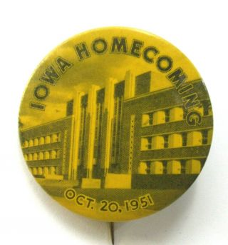 "1951 University Of Iowa Homecoming Football 1.  75 "" Pinback Button ^"