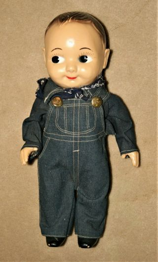Vnt Buddy Lee Hard Plastic Doll Lee Overalls Union Made Tag Blue Bandana