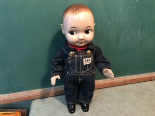 Vintage Buddy Lee Doll Union Made Denim Overalls 1950s Composition