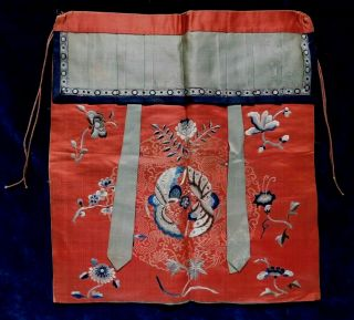 Antique 19th Century Chinese Silk Embroidered Apron,  Insects / Flowers