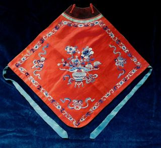 Antique Chinese Embroidered Red Silk Costume Frontispiece / Bib,  Ribbon Ties