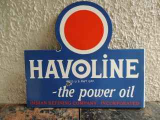 "Havoline Oil Porcelain 2 Sided Flanged Sign 22.  5 "" By 20 """