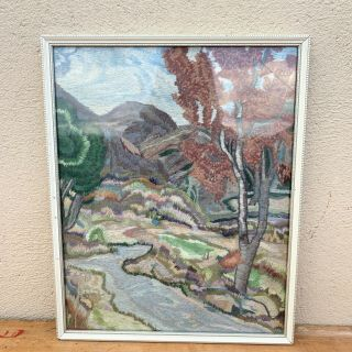Vintage Mid Century Hand Embroidered Picture Long Short Stitch Needle Painting