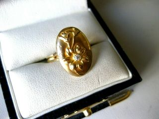 "Antique 14k Yellow Gold Ring "" Flower "" With Diamons,  Art Nouveau,  Ca.  1900"