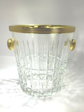 Elegant Large French Dore Gilt And Cut Crystal Wine/champagne/ice Bucket