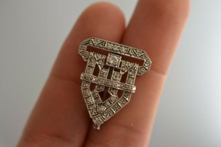 Antique Art Deco Platinum And Diamonds Brooch Pin 5.  8 Gr