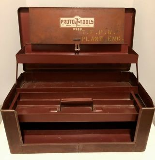 Vintage Proto Tools Flying Lady Tool Box Tool Chest No.  9989 Usa Proto Cabinet