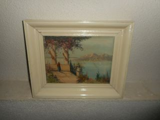 Old Oil Painting,  { Coast Landscape With A Woman And Sailboats,  Is Signed }.