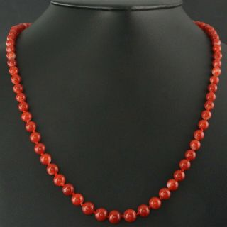 """Solid 14k Yellow Gold & Red Coral Graduated Bead 21 """" Long Estate Necklace,  Nr"""