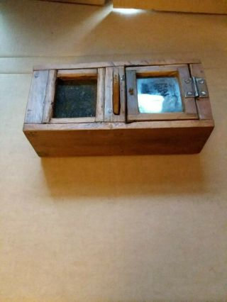 Wooden Pine Bee Lining Or Hunting Box Apiary Beekeeping With Glass Window.