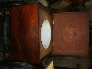 Antique Victorian Chamber Pot Wood Chair Commode Toilet Box Seat Porta - Potty 8