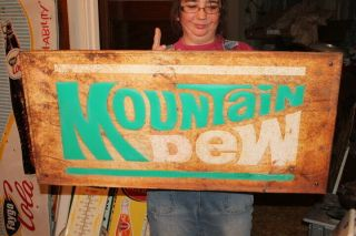"Vintage C1970 Mountain Dew Soda Pop Gas Station 35 "" Embossed Metal Sign"