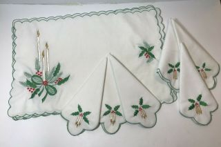 Vintage Mid Century Hand Embroidered Christmas Placemats & Napkins Set 6 Each