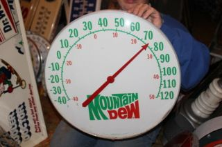 "Large Vintage Mountain Dew Soda Pop Gas Oil 18 "" Metal & Glass Thermometer Sign"