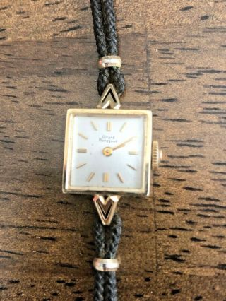 Girard Perregaux Vintage Ladies Wrist Watch 14kgold With Corded Band