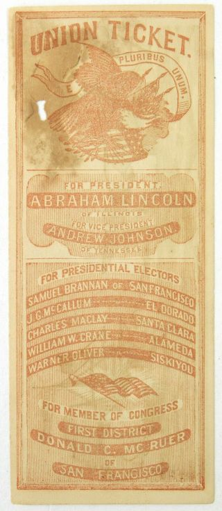 1864 Abe Lincoln 16th President Of The United States 3x7.  5 Union Ticket Handbill