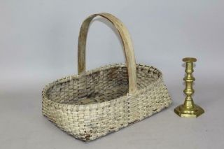 A Fine Late 19th C One Handle Gathering Basket In Ivory White Paint