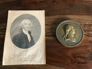 George Washington Memorial Engraving & Indian Peace Medal