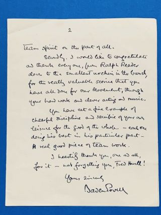 Boy Scout Official Letter Signed Baden Powell Dated On 1938