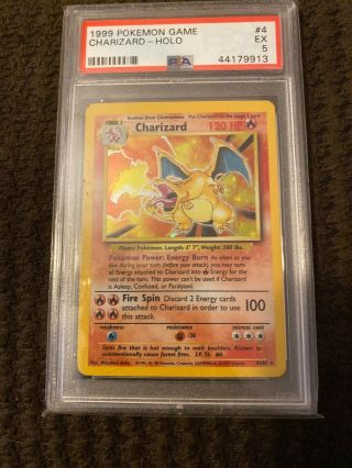 "1999 Pokemon Game 1st Edition 4 Holo Charizard Psa 5 Ex "" Hot Card """