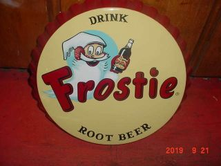 Frosty Root Beer Bottle Cap Sign 25 Inch