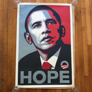 "Shephard Fairey Obama ""hope"" 2008 Campaign 24x36 Print Signed / Dated"