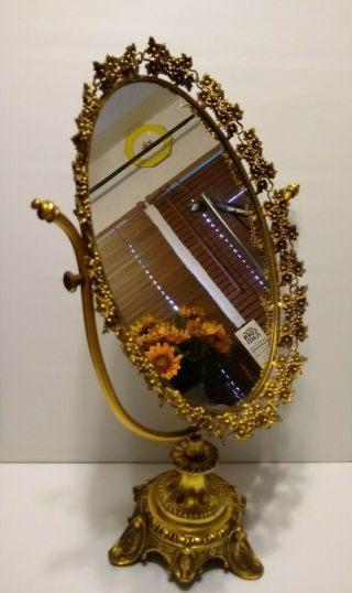 Vintage Golden Ormolu Filigree Mirror With Stand - One Of A Kind