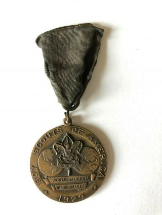 1929 World Jamboree Boy Scouts Of America Contingent Medal Green Ribbon Worn