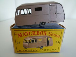 Vintage Matchbox Lesney No.  23c Bluebird Dauphine Caravan Boxed Issued 1960 Gpw